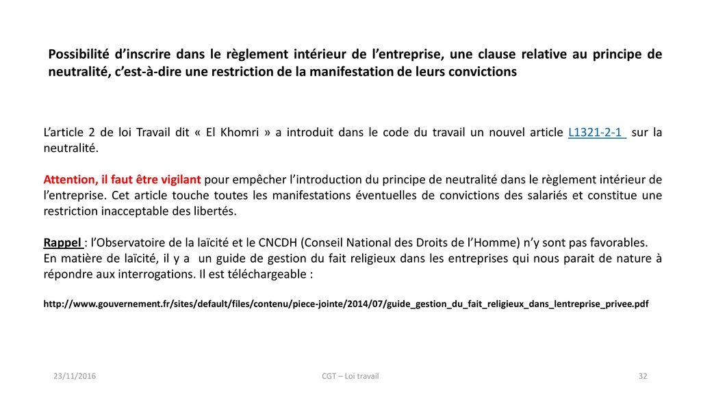 La loi travail n entrera pas ppt t l charger for Reglement interieur entreprise pdf