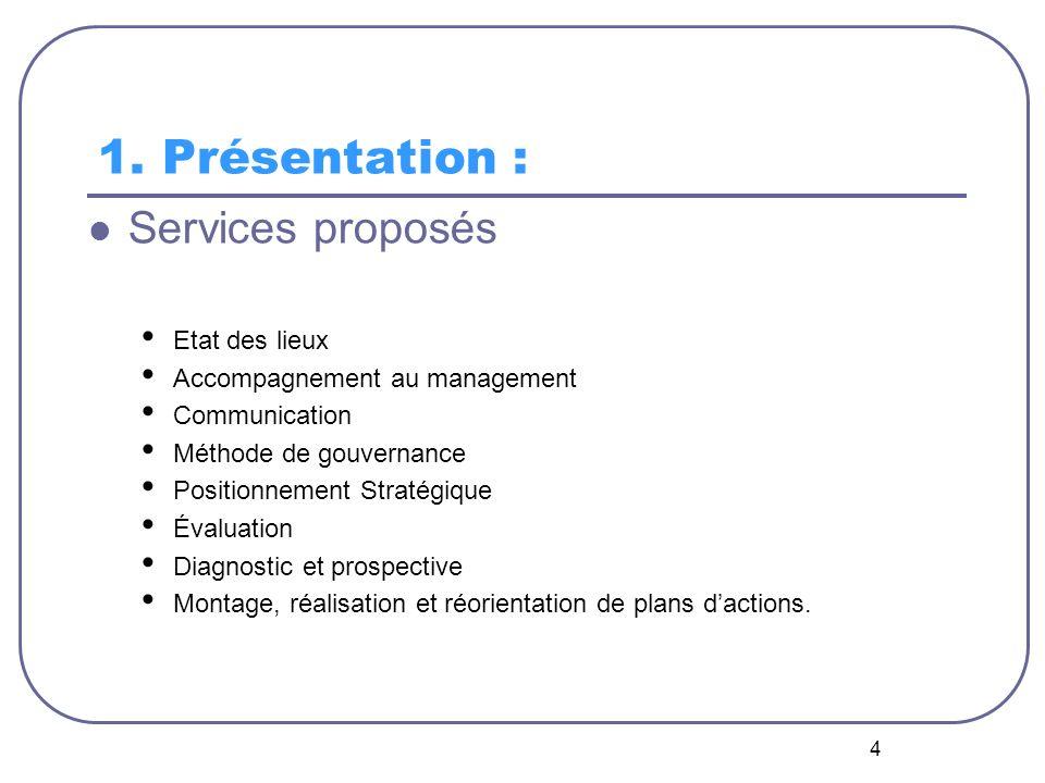 1. Présentation : Services proposés Etat des lieux