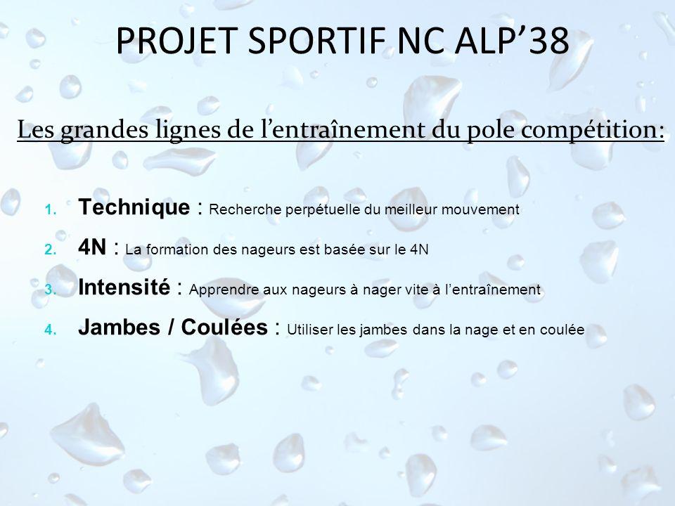 PROJET SPORTIF NC ALP'38 Les grandes lignes de l'entraînement du pole compétition: Technique : Recherche perpétuelle du meilleur mouvement.