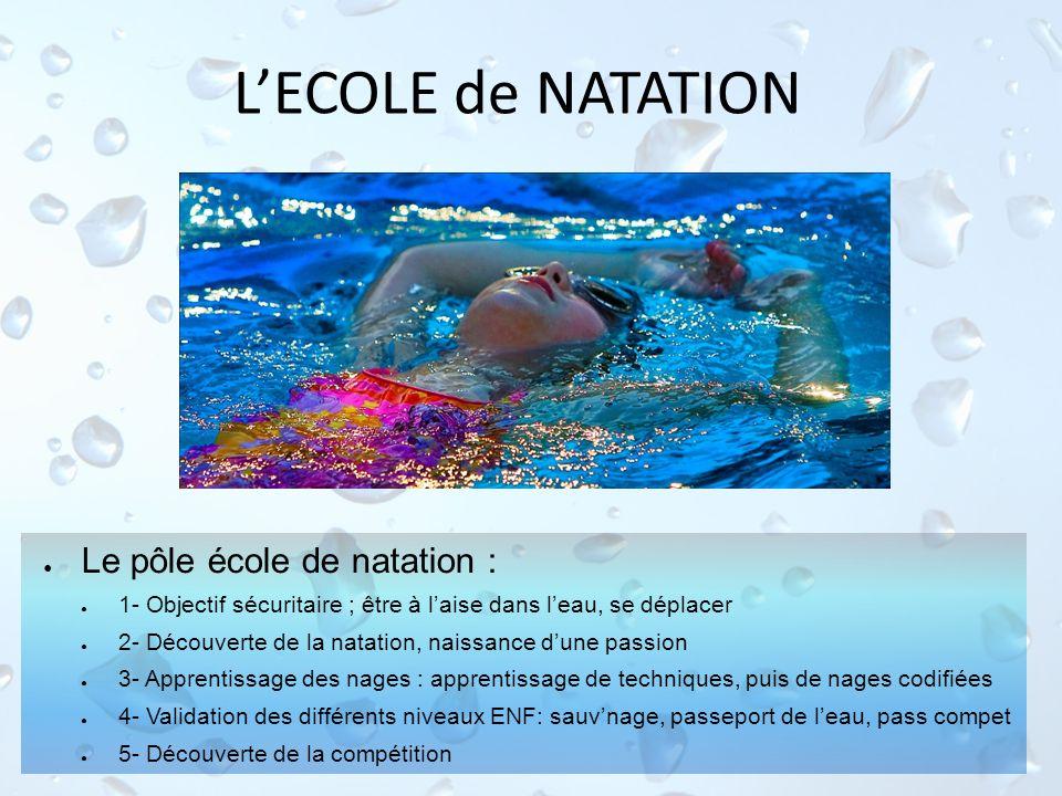 L'ECOLE de NATATION Le pôle école de natation :