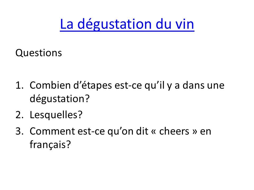 La dégustation du vin Questions