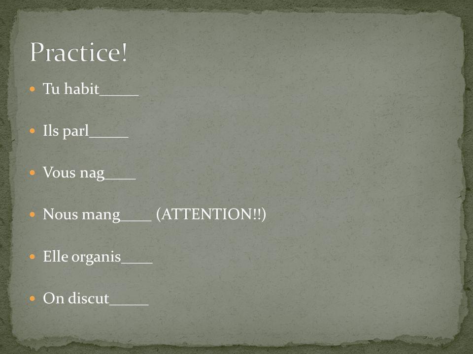 Practice! Tu habit_____ Ils parl_____ Vous nag____