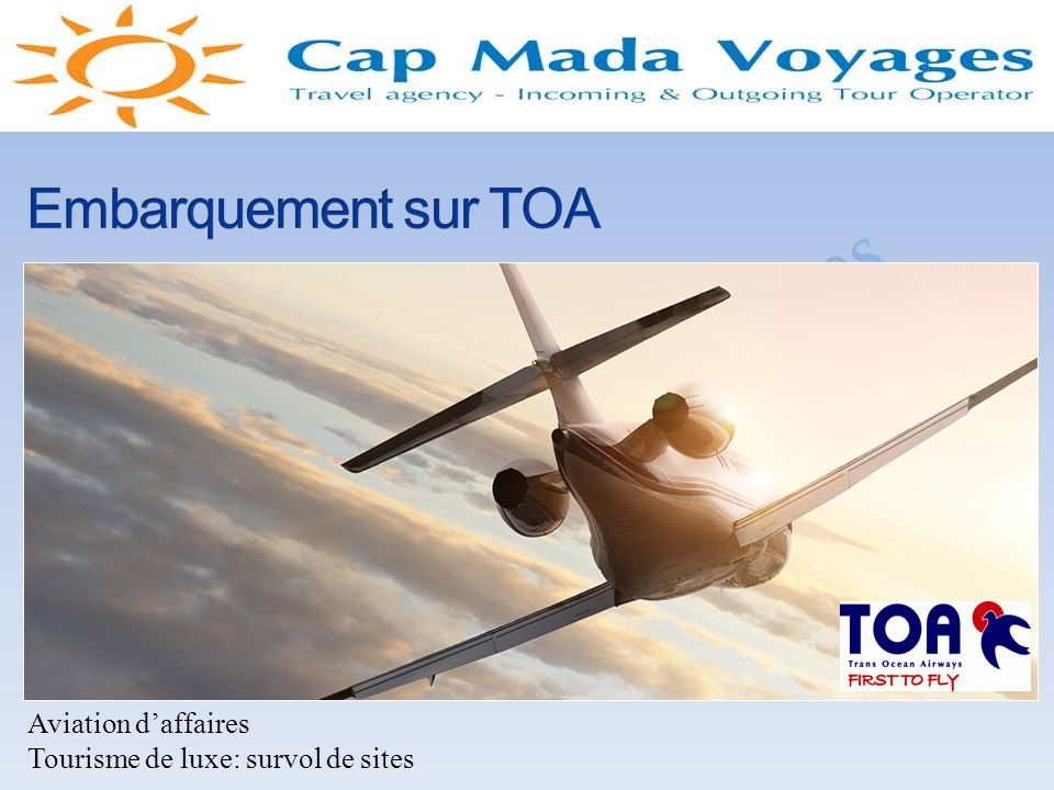 Embarquement sur TOA Aviation d'affaires