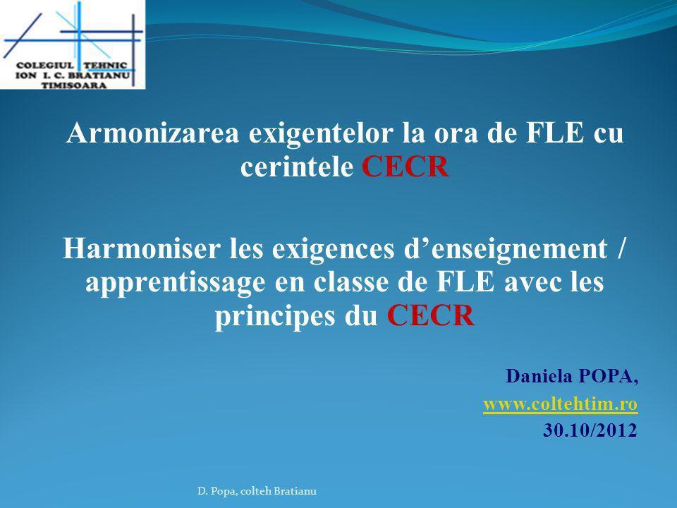 Armonizarea exigentelor la ora de FLE cu cerintele CECR
