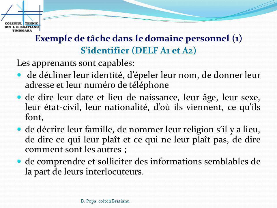 Exemple de tâche dans le domaine personnel (1)