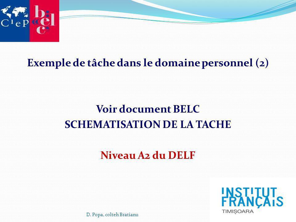 Exemple de tâche dans le domaine personnel (2) Voir document BELC SCHEMATISATION DE LA TACHE Niveau A2 du DELF