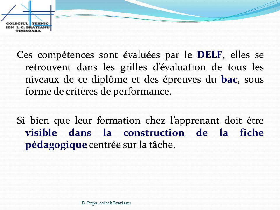 Ces compétences sont évaluées par le DELF, elles se retrouvent dans les grilles d'évaluation de tous les niveaux de ce diplôme et des épreuves du bac, sous forme de critères de performance. Si bien que leur formation chez l'apprenant doit être visible dans la construction de la fiche pédagogique centrée sur la tâche.