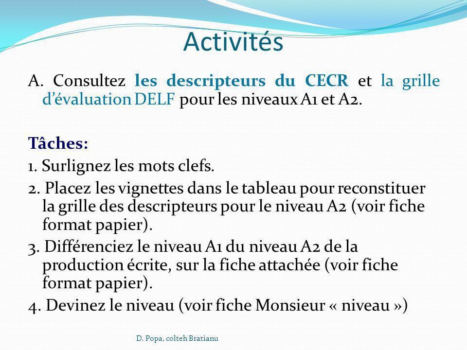 Activités A. Consultez les descripteurs du CECR et la grille d'évaluation DELF pour les niveaux A1 et A2.