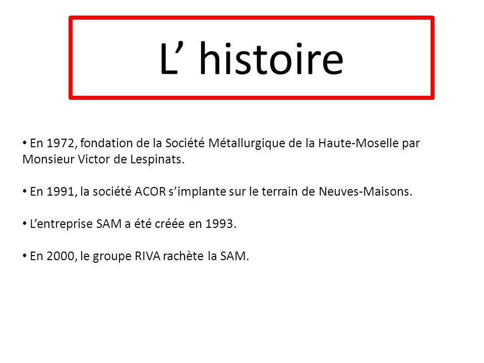 L' histoireEn 1972, fondation de la Société Métallurgique de la Haute-Moselle par Monsieur Victor de Lespinats.