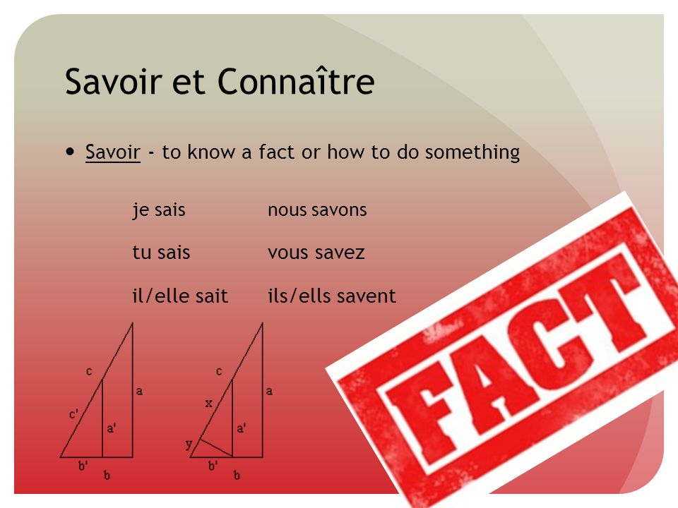 Savoir et Connaître Savoir - to know a fact or how to do something