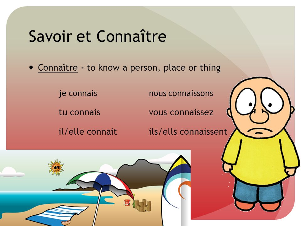 Savoir et Connaître Connaître - to know a person, place or thing