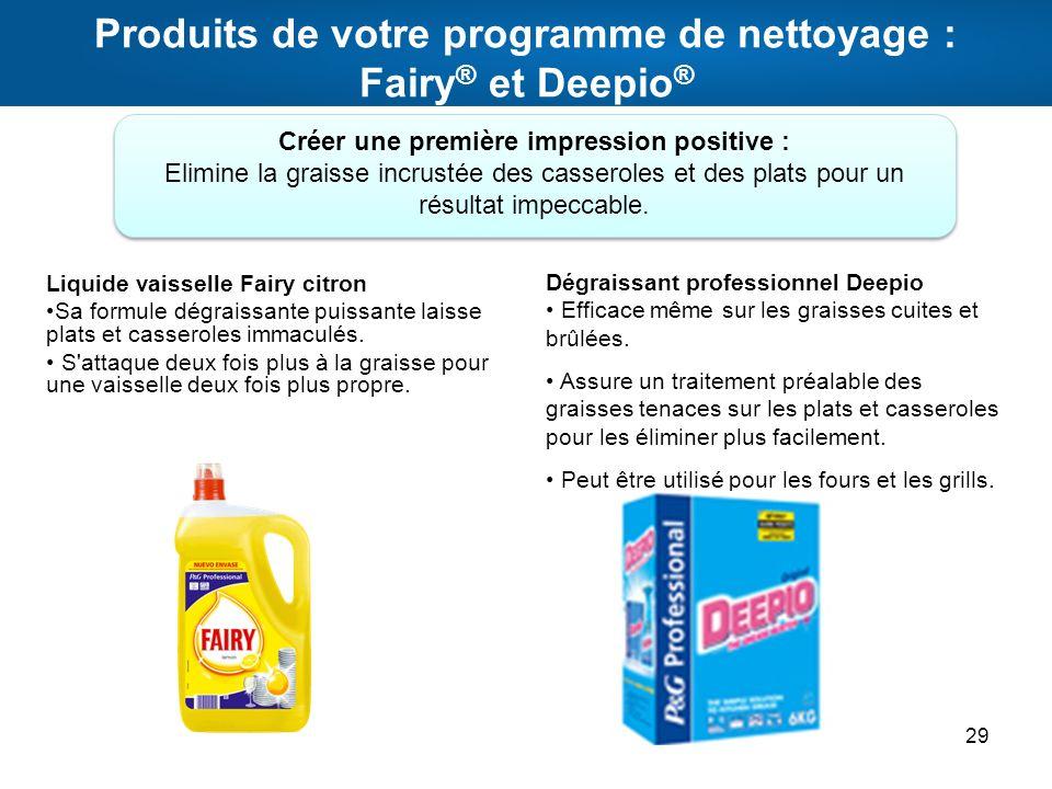 Produits de votre programme de nettoyage : Fairy® et Deepio®