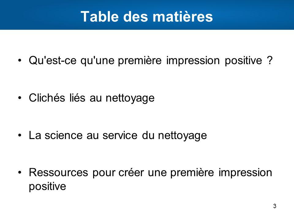 Table des matières Qu est-ce qu une première impression positive