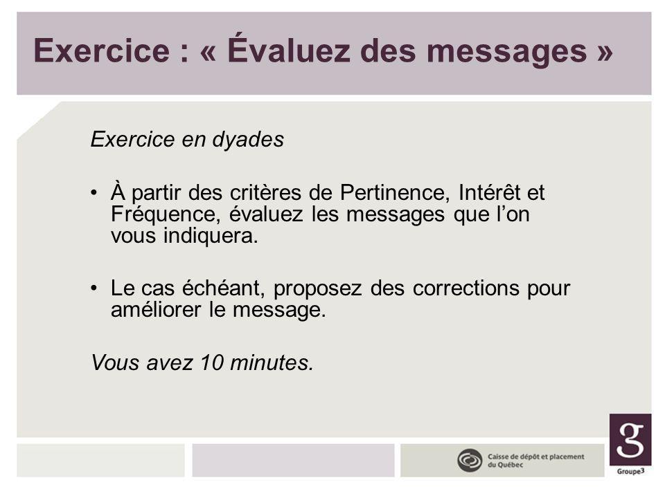 Exercice : « Évaluez des messages »