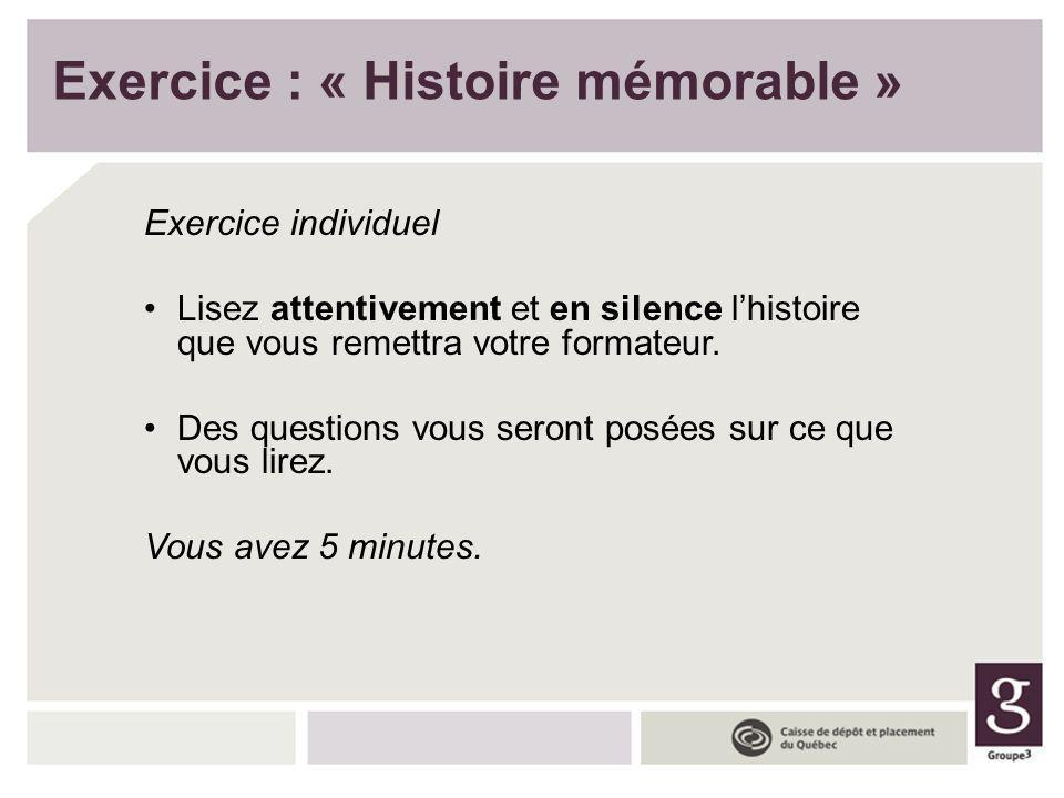 Exercice : « Histoire mémorable »