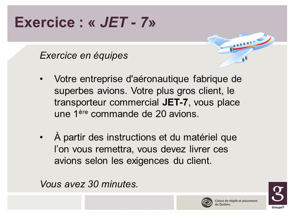 Exercice : « JET - 7» Exercice en équipes