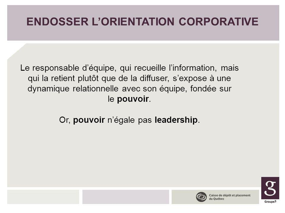 ENDOSSER L'ORIENTATION CORPORATIVE