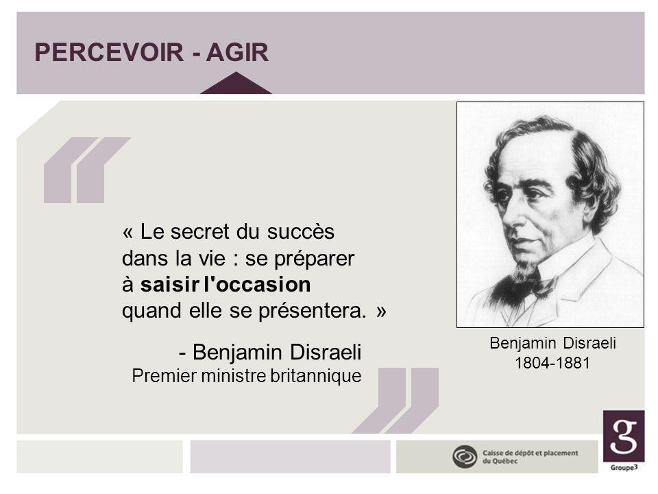 PERCEVOIR - AGIR « Le secret du succès dans la vie : se préparer à saisir l occasion quand elle se présentera. »