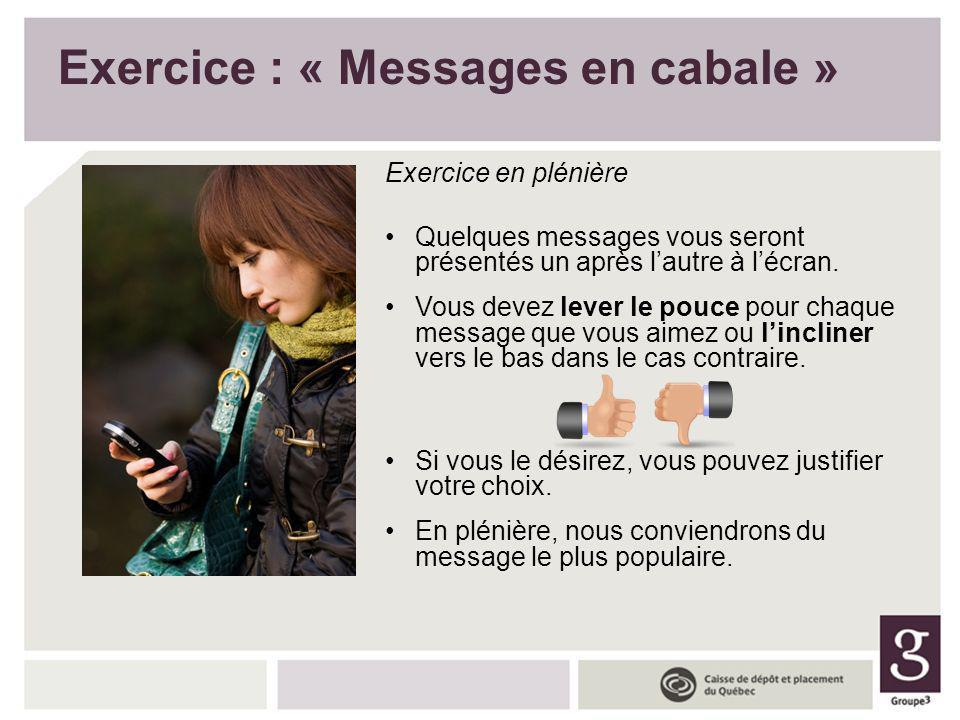 Exercice : « Messages en cabale »