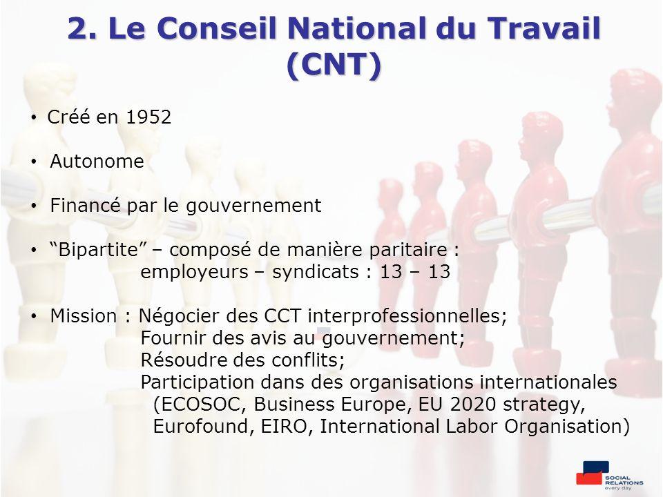 2. Le Conseil National du Travail (CNT)