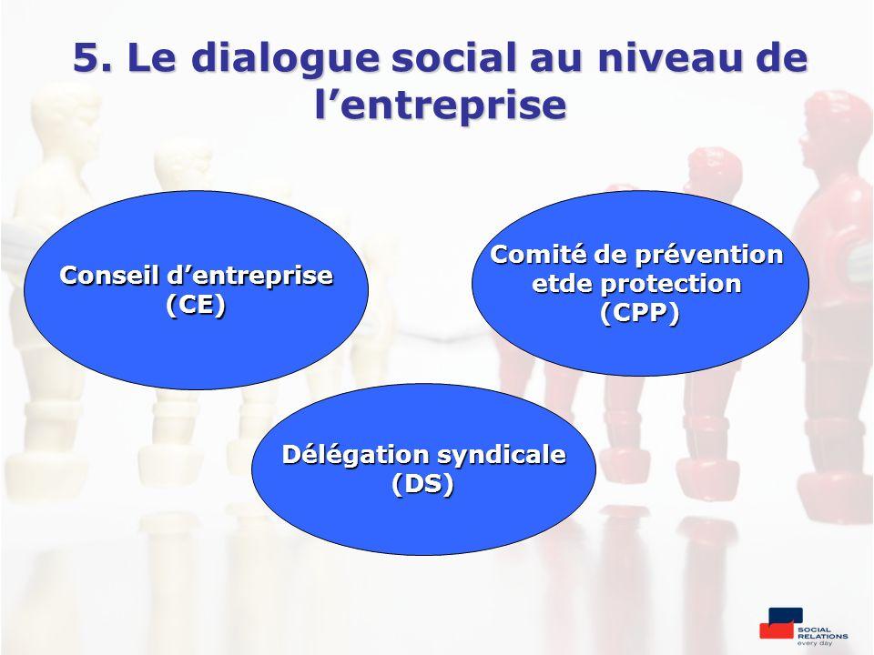 5. Le dialogue social au niveau de l'entreprise