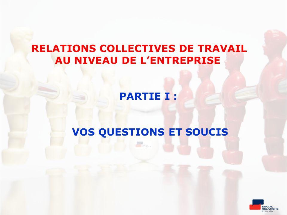 RELATIONS COLLECTIVES DE TRAVAIL AU NIVEAU DE L'ENTREPRISE PARTIE I : VOS QUESTIONS ET SOUCIS