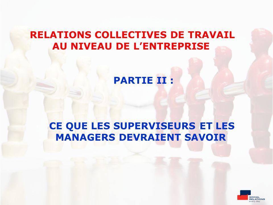 RELATIONS COLLECTIVES DE TRAVAIL AU NIVEAU DE L'ENTREPRISE PARTIE II : CE QUE LES SUPERVISEURS ET LES MANAGERS DEVRAIENT SAVOIR