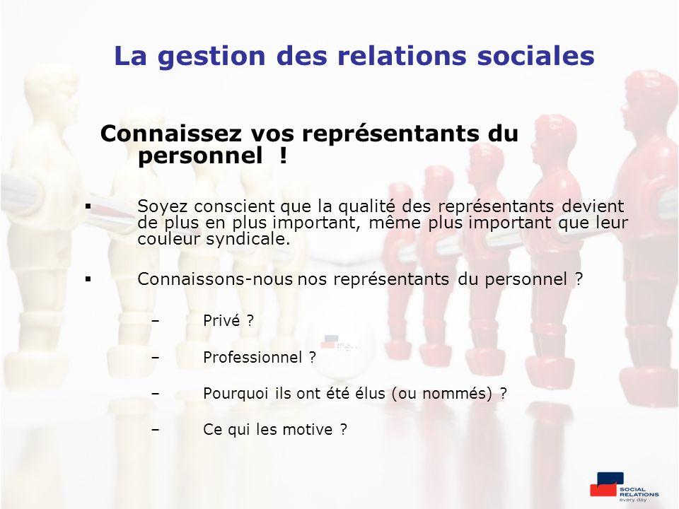 La gestion des relations sociales