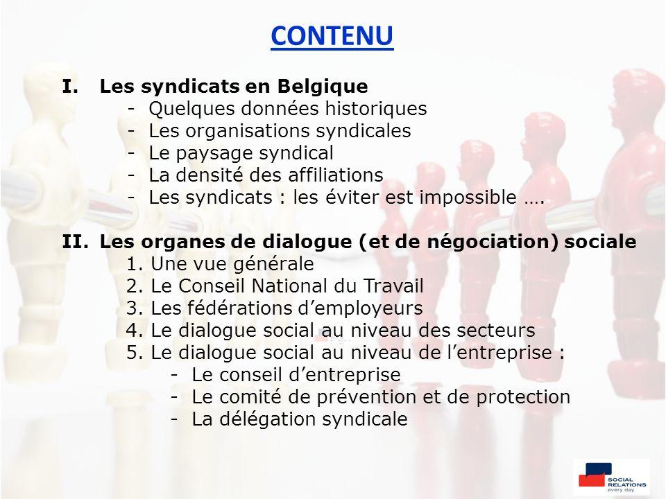 CONTENU Les syndicats en Belgique - Quelques données historiques