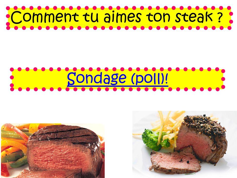 Comment tu aimes ton steak