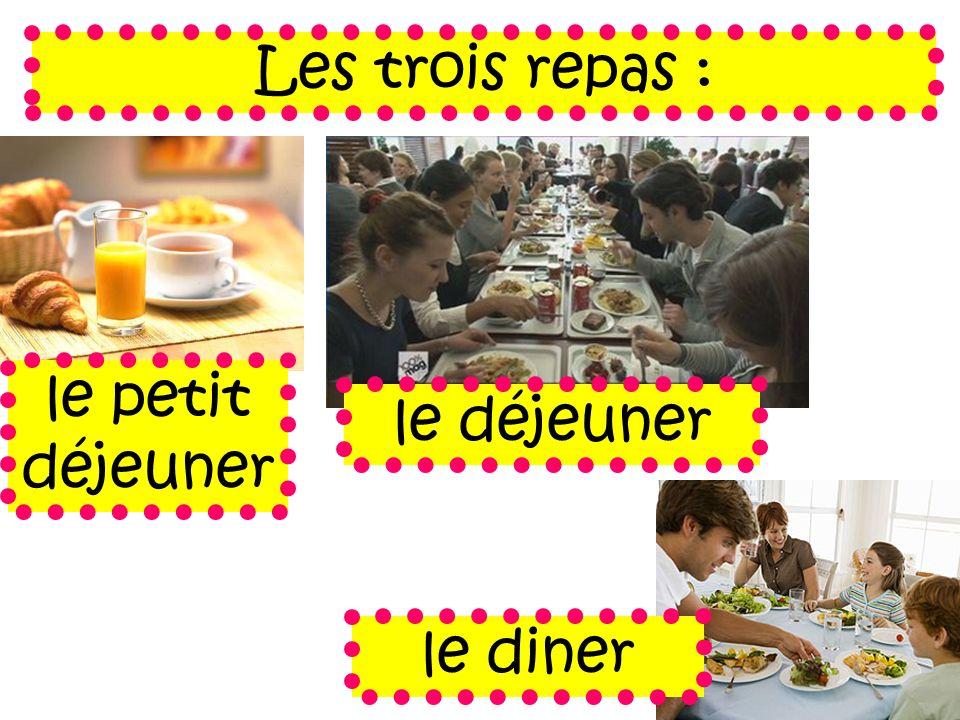 Les trois repas : le petit déjeuner le déjeuner le diner