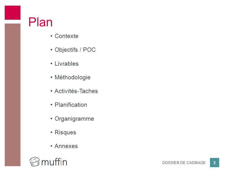 Plan Contexte Objectifs / POC Livrables Méthodologie Activités-Taches