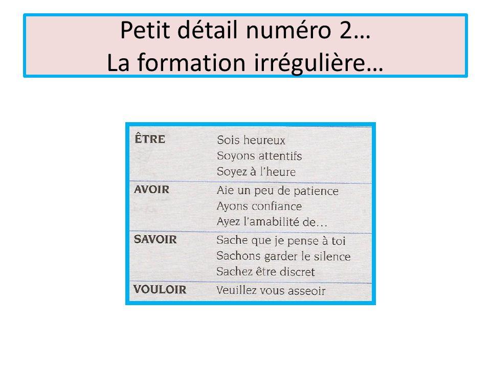 Petit détail numéro 2… La formation irrégulière…