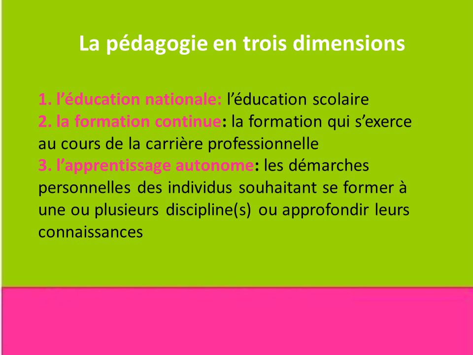 La pédagogie en trois dimensions
