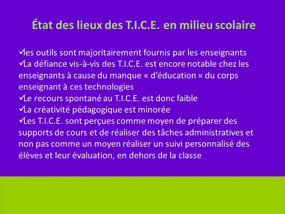 État des lieux des T.I.C.E. en milieu scolaire