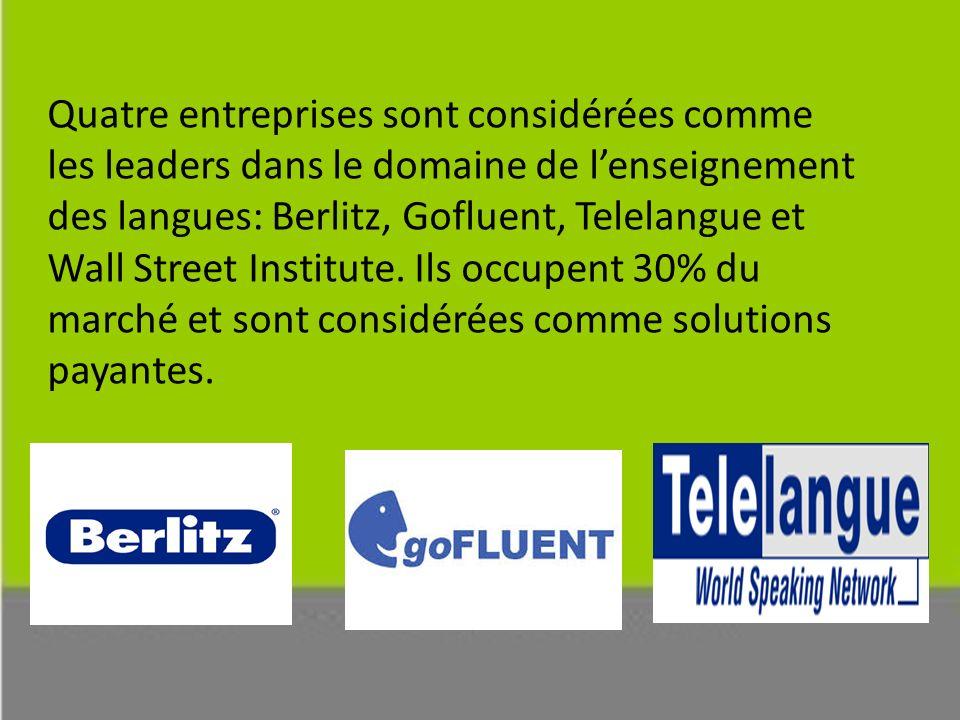 Quatre entreprises sont considérées comme les leaders dans le domaine de l'enseignement des langues: Berlitz, Gofluent, Telelangue et Wall Street Institute.