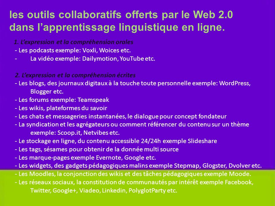 les outils collaboratifs offerts par le Web 2