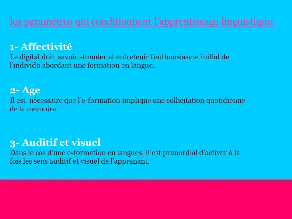 les paramètres qui conditionnent l'apprentissage linguistique: