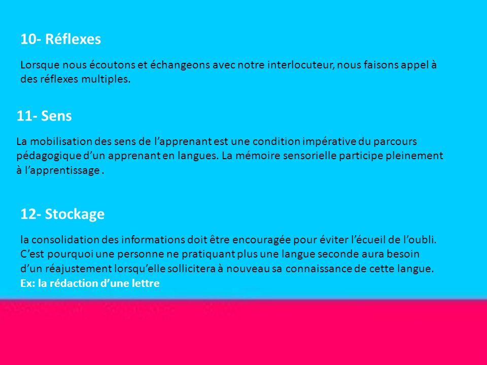 10- Réflexes 11- Sens 12- Stockage