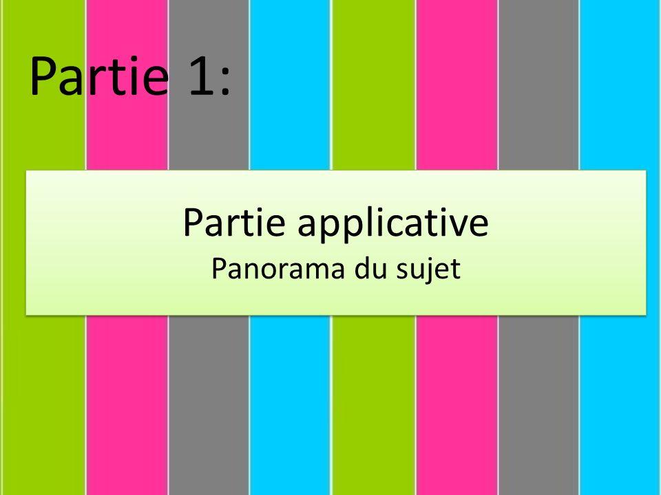 Partie 1: Partie applicative Panorama du sujet