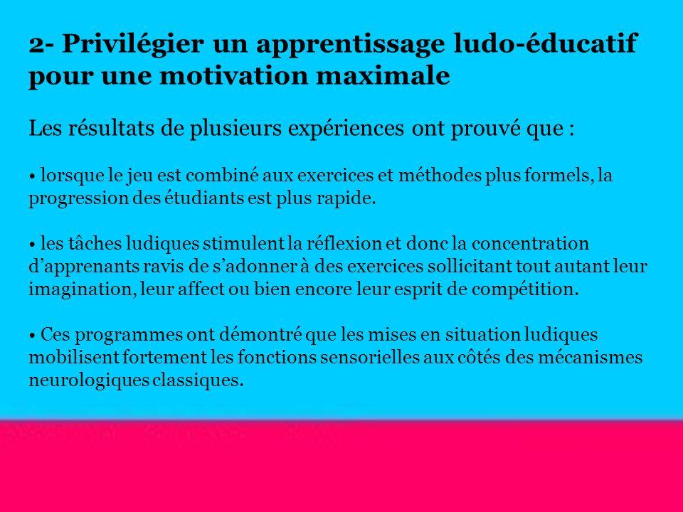 2- Privilégier un apprentissage ludo-éducatif pour une motivation maximale