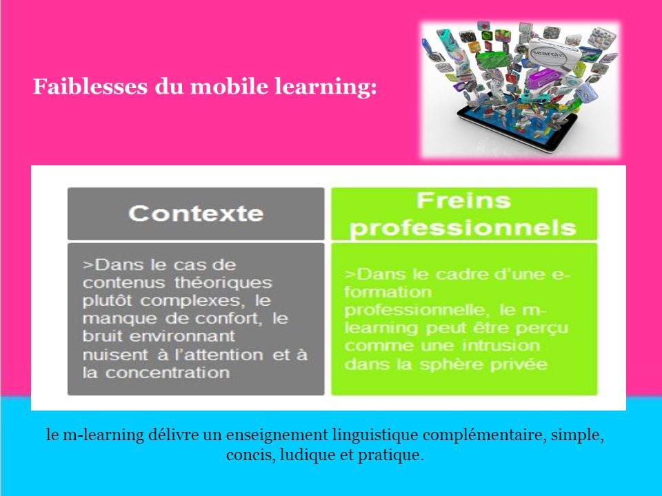 Faiblesses du mobile learning: