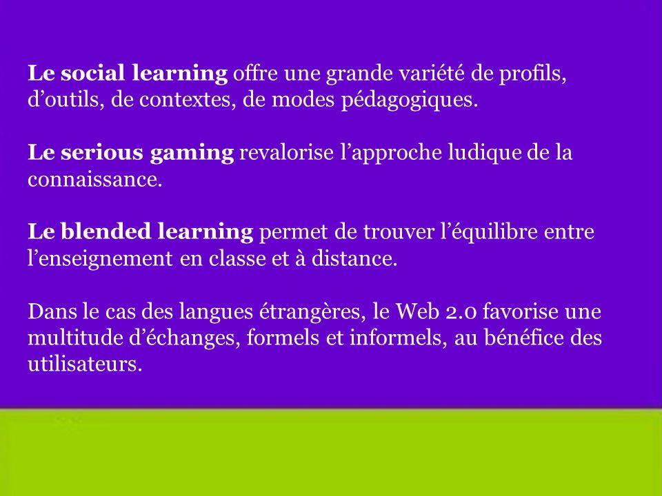 Le social learning offre une grande variété de profils, d'outils, de contextes, de modes pédagogiques.
