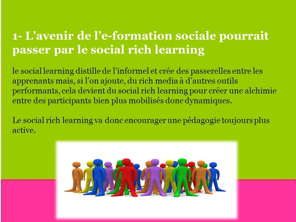 1- L'avenir de l'e-formation sociale pourrait passer par le social rich learning