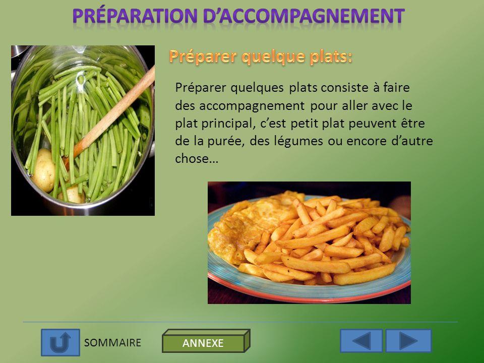 Préparation d'accompagnement Préparer quelque plats: