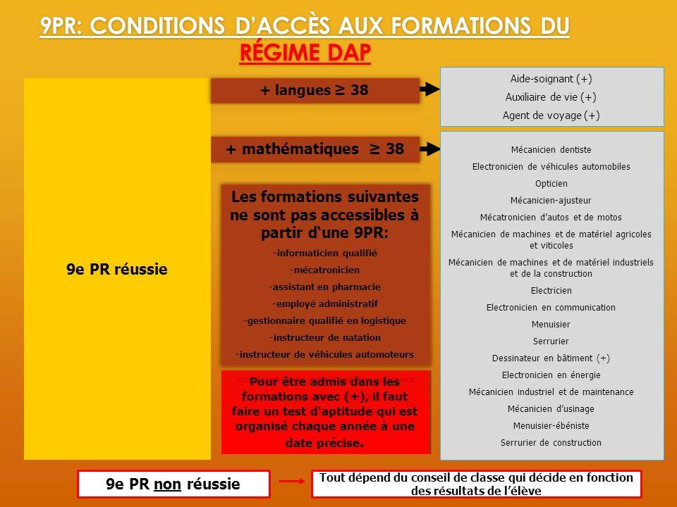 9PR: Conditions d'accès aux formations du régime DAP