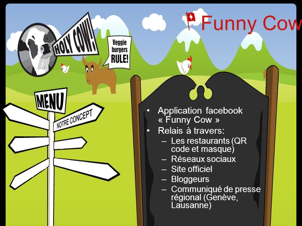 Funny Cow Application facebook « Funny Cow » Relais à travers: