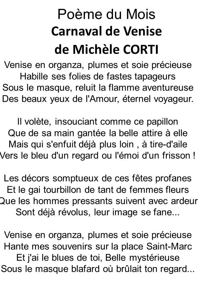 Poème du Mois Carnaval de Venise de Michèle CORTI