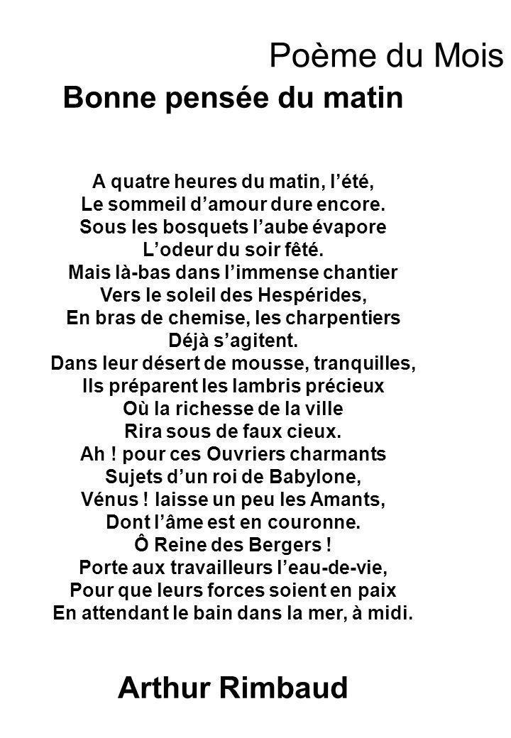 Poème du Mois Bonne pensée du matin Arthur Rimbaud