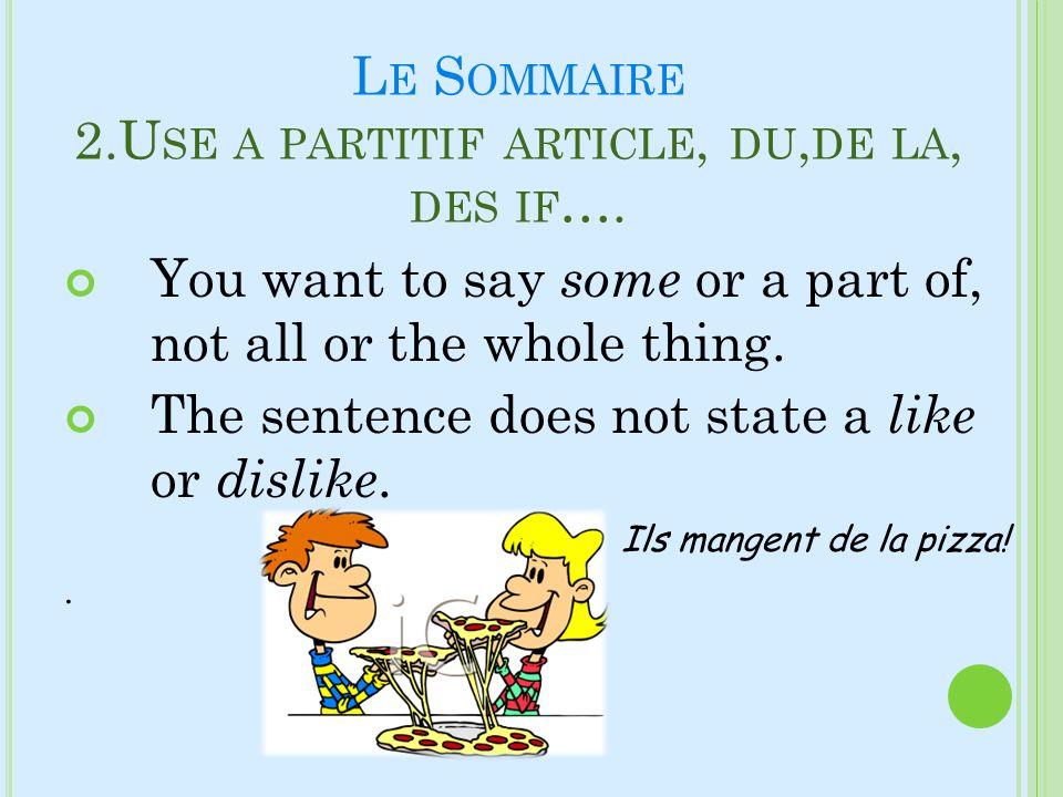 Le Sommaire 2.Use a partitif article, du,de la, des if….